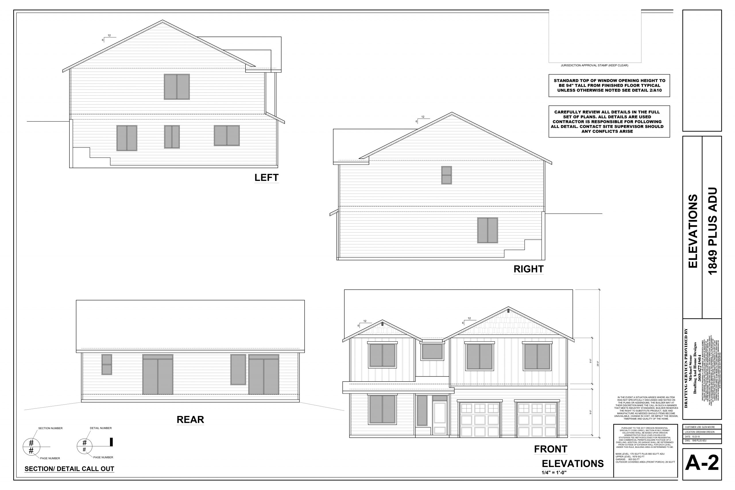 Design plans for one of the spec homes from Quality Calvary Construction