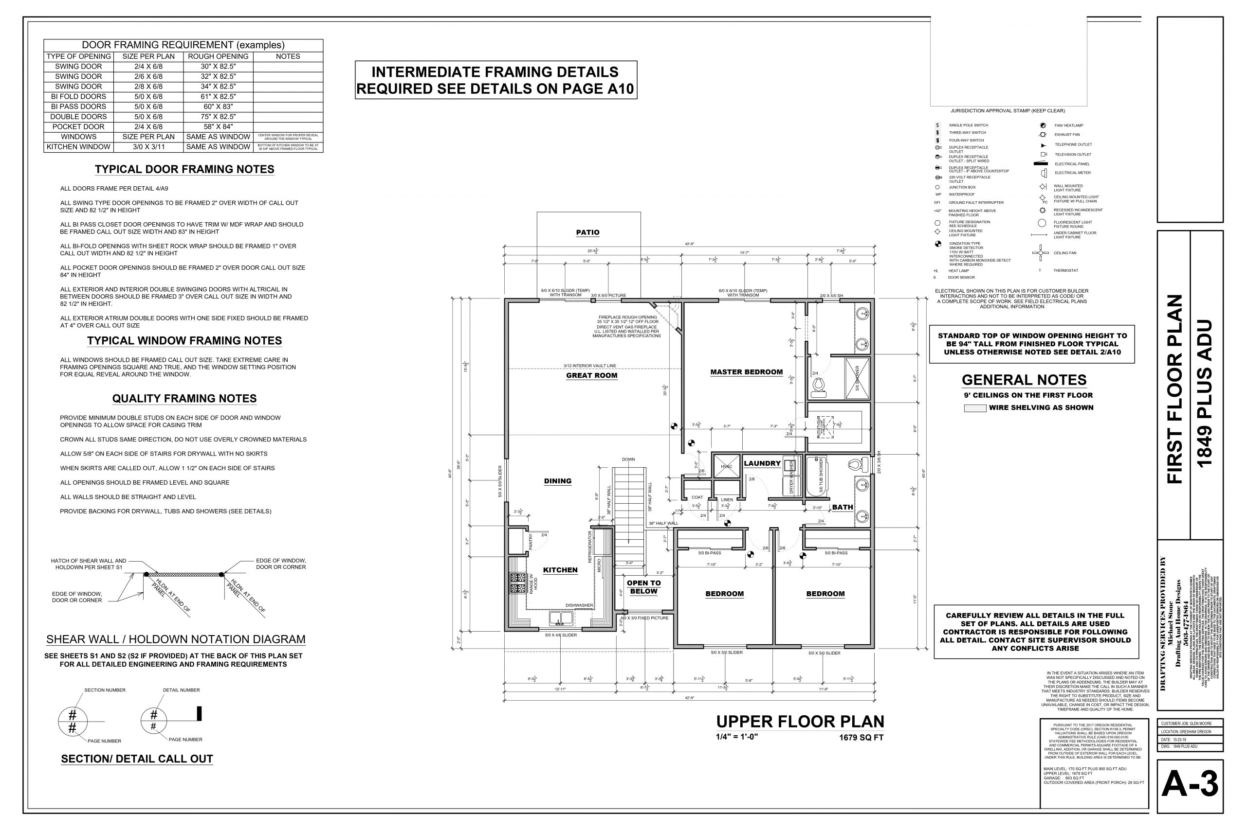 Floorplan for one of the spec homes from Quality Calvary Construction
